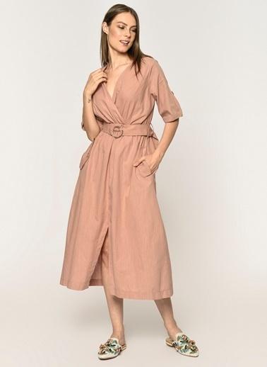 Loves You Keten Karışımlı Cepli Elbise Pembe